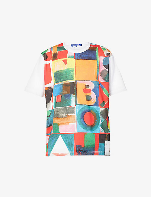 JUNYA WATANABE: Graphic-print dropped-shoulder cotton-jersey T-shirt