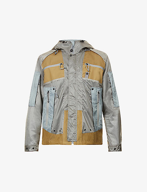 JUNYA WATANABE: Contrast-panel high-neck shell hooded jacket