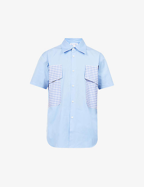 COMME DES GARCONS SHIRT: Colour-blocked patch-pocket cotton-poplin shirt