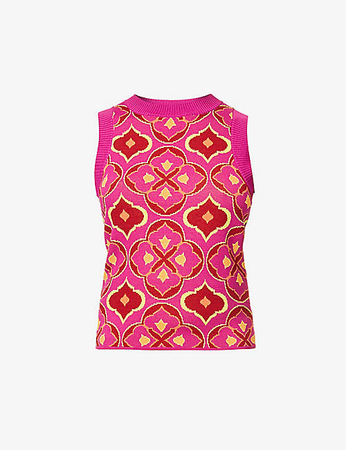 NEVER FULLY DRESSED: Jasmine abstract-pattern stretch-woven tank top