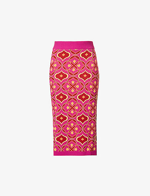 NEVER FULLY DRESSED: Jasmine abstract-pattern stretch-woven midi skirt