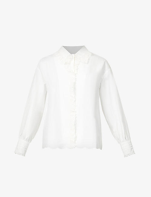 NEVER FULLY DRESSED: Scalloped boxy-fit cotton-poplin and lace shirt