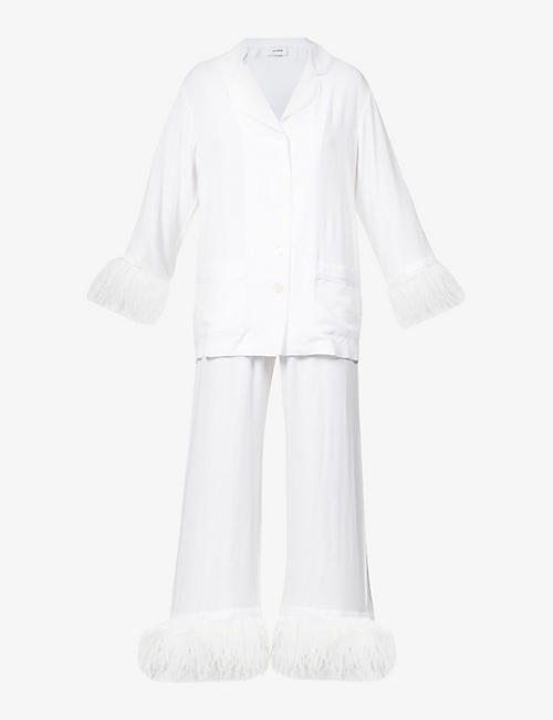 SLEEPER: Party feather-trim woven pyjama set