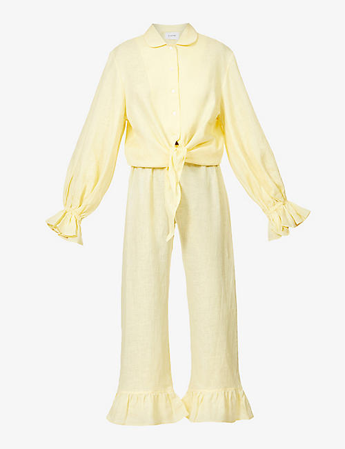 SLEEPER: Rumba frilled linen pyjama set