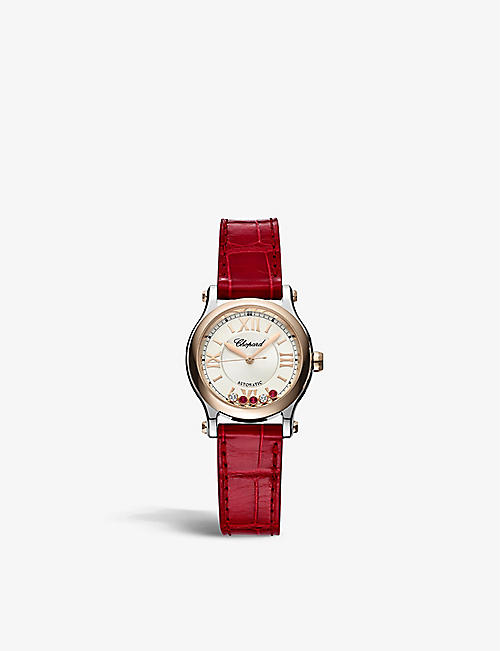 CHOPARD: 278573-6026 Happy Sport 18ct rose-gold, ruby and 0.06ct diamond automatic watch