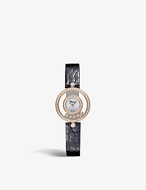 CHOPARD: 203957-5214 Happy Diamonds 18ct rose-gold, 0.91ct full-cut diamond and alligator-embossed leather quartz watch
