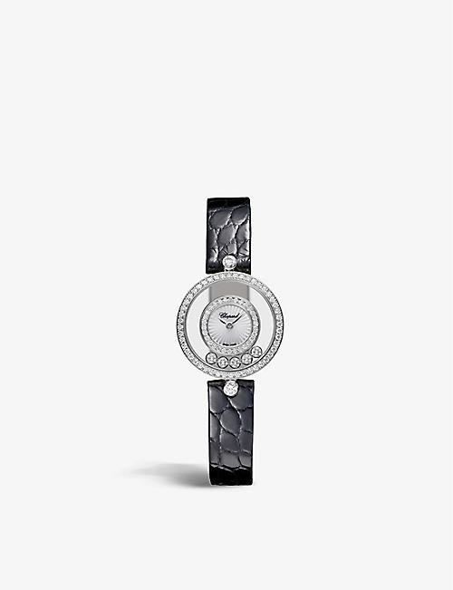 CHOPARD: 203957-1214 Happy Diamonds 18ct white-gold, 0.91ct full-cut diamond and alligator-embossed leather quartz watch