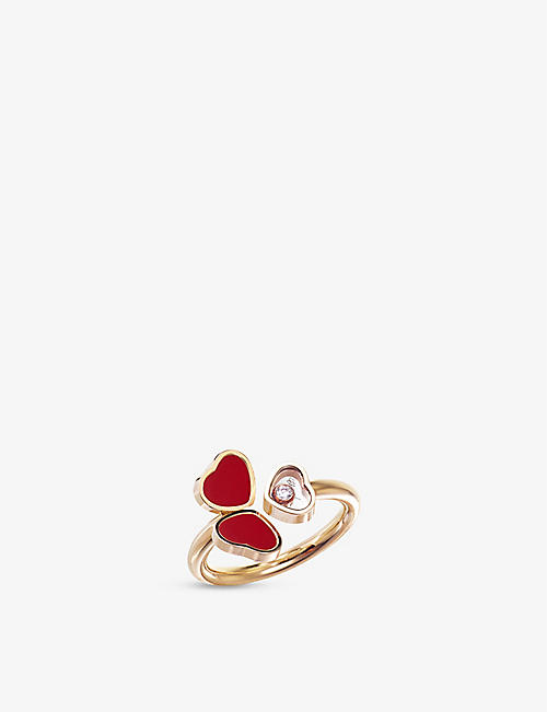 CHOPARD: Happy Hearts Wings 18ct rose-gold, 0.05ct diamond and red-stone ring