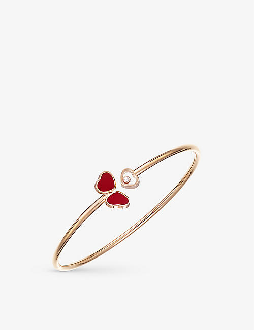 CHOPARD: Happy Hearts Wings 18ct rose-gold, 0.05ct diamond and red-stone bangle bracelet