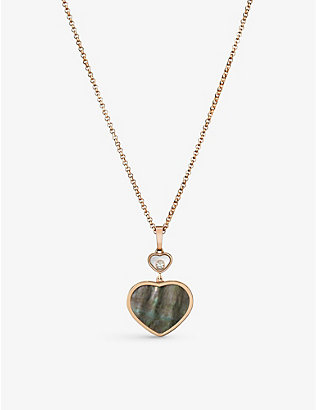 CHOPARD: Happy Hearts 18ct rose-gold, 0.05ct diamond and mother-of-pearl pendant
