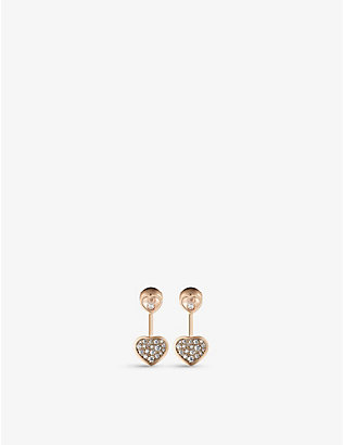 CHOPARD: Happy Hearts 18ct rose-gold and 0.44ct diamond earrings