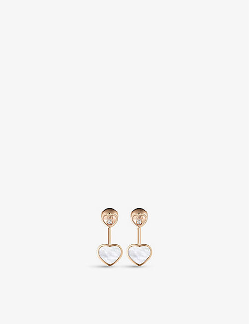 CHOPARD: Happy Hearts 18ct rose-gold, 0.08ct diamond and mother-of-pearl earrings
