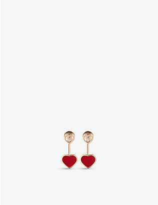 CHOPARD: Happy Hearts 18ct rose-gold, 0.08ct diamond and red-stone earrings