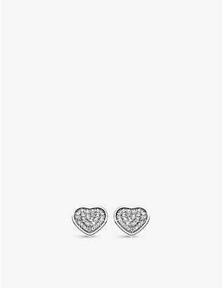 CHOPARD: Happy Hearts 18ct white-gold and 0.8ct diamond earrings