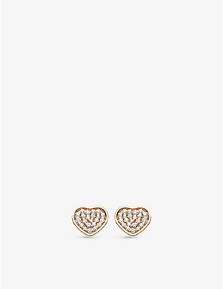 CHOPARD: Happy Hearts 18ct rose-gold and 0.8ct diamond earrings