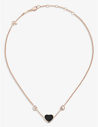 CHOPARD: Happy Hearts 18ct rose-gold, 0.1ct diamond and onyx necklace