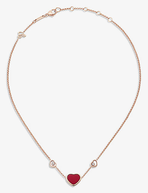 CHOPARD: Happy Hearts 18ct rose-gold, 0.1ct diamond and red-stone necklace