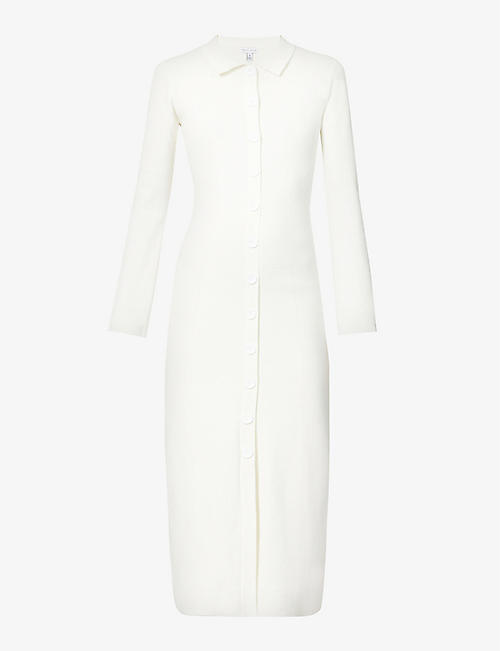 PRETTY LAVISH: Elsa button-up stretch-knit midi dress