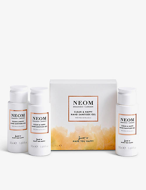 NEOM: Clean & Happy hand sanitiser gel pack of 3