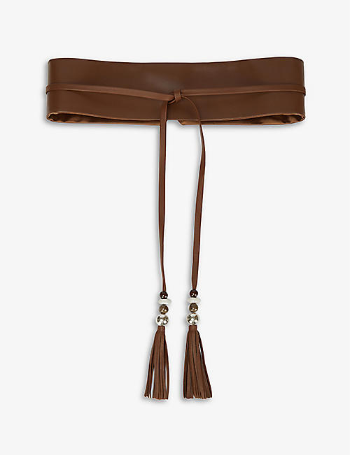 MAX MARA: Elia tassel-trim leather belt