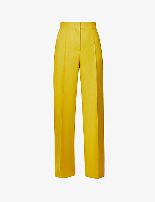 MAX MARA: Ginosa wide-leg high-rise linen trousers