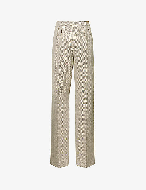 MAX MARA: Mozart wide-leg high-rise linen-blend trousers
