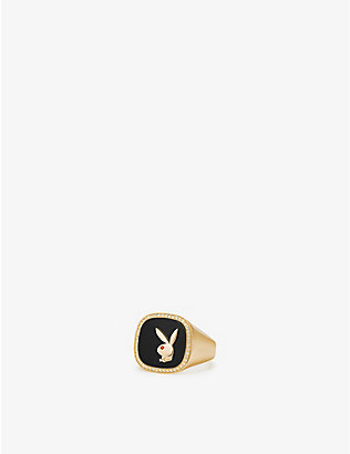 HATTON LABS: Hatton Labs x Playboy Membership 18ct yellow gold-plated sterling-silver, white sapphire, ruby and onyx signet ring
