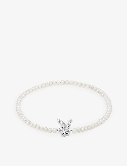 HATTON LABS: Hatton Labs x Playboy Bunny sterling-silver, freshwater-pearl, cubic-zirconia and pink-zirconia necklace