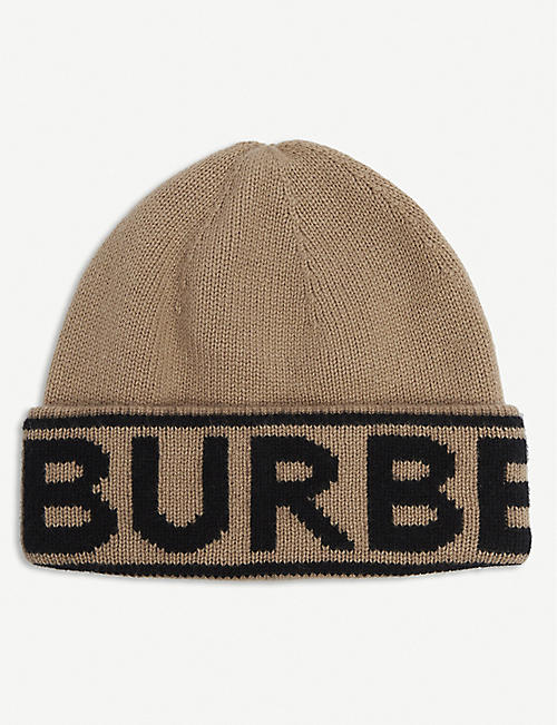 BURBERRY: Logo-embroidered cashmere beanie hat
