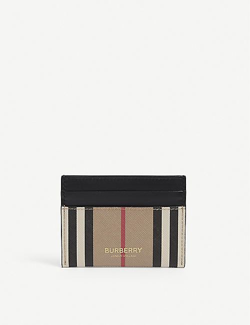 BURBERRY: Sandon check-print leather card holder