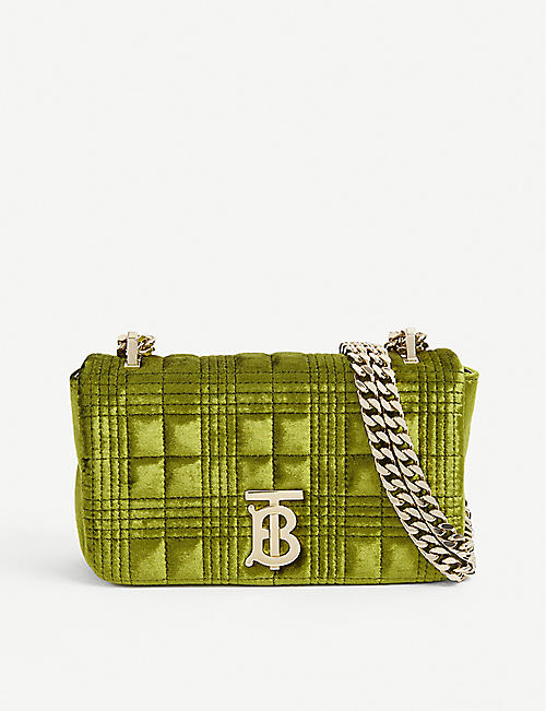 BURBERRY: Lola mini quilted velvet shoulder bag