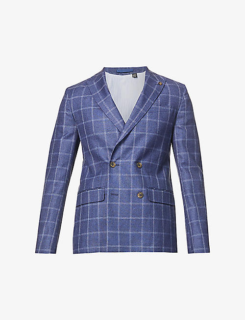 TED BAKER: Double-breasted checked wool-blend blazer