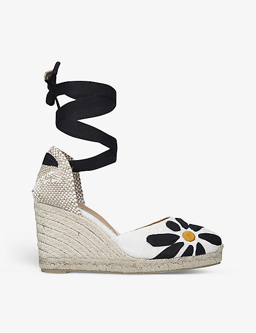 CASTANER: Candace floral-embroidered linen wedge espadrilles