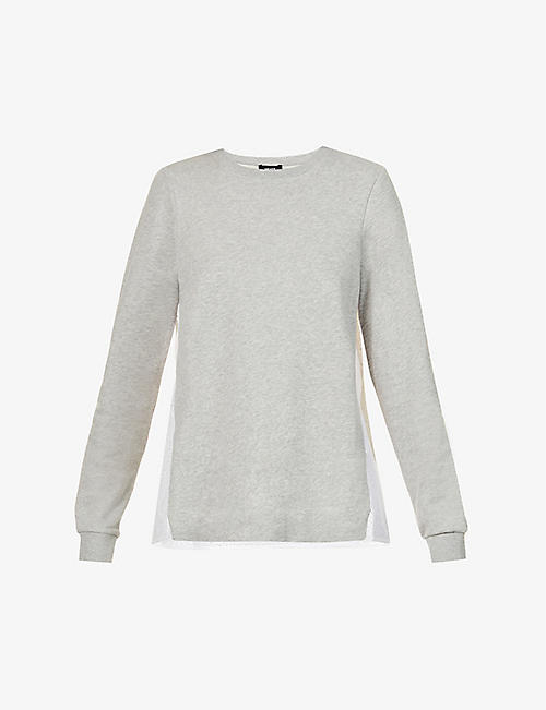 ME AND EM: Broderie back cotton-jersey sweatshirt