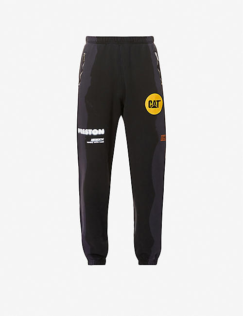 HERON PRESTON: Heron Preston x CAT tapered-leg cotton-jersey jogging bottoms