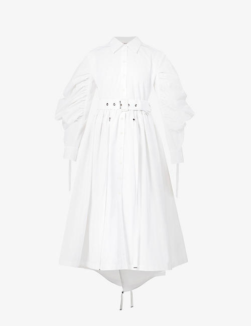 ALEXANDER MCQUEEN: Ruched-sleeve cotton midi dress