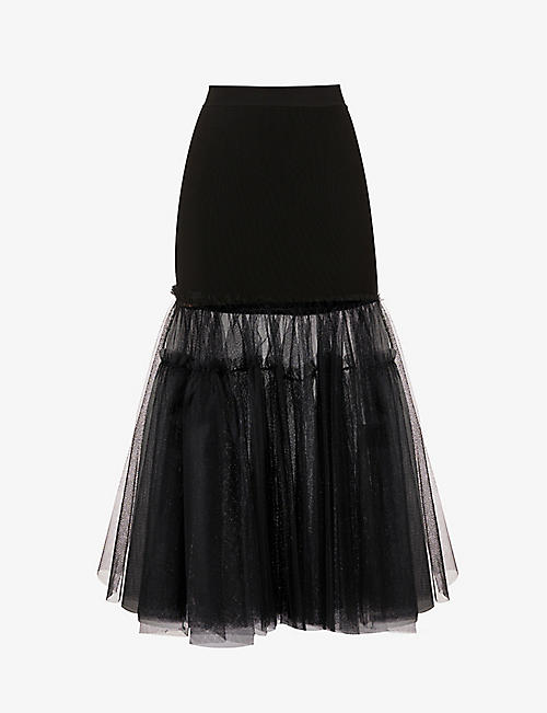 ALEXANDER MCQUEEN: Contrast-panel knitted and tulle maxi skirt