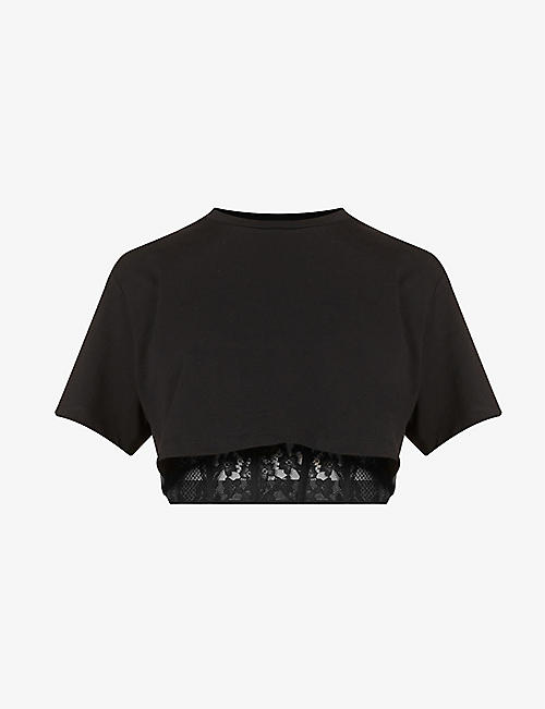 ALEXANDER MCQUEEN: Cropped cotton and lace T-shirt
