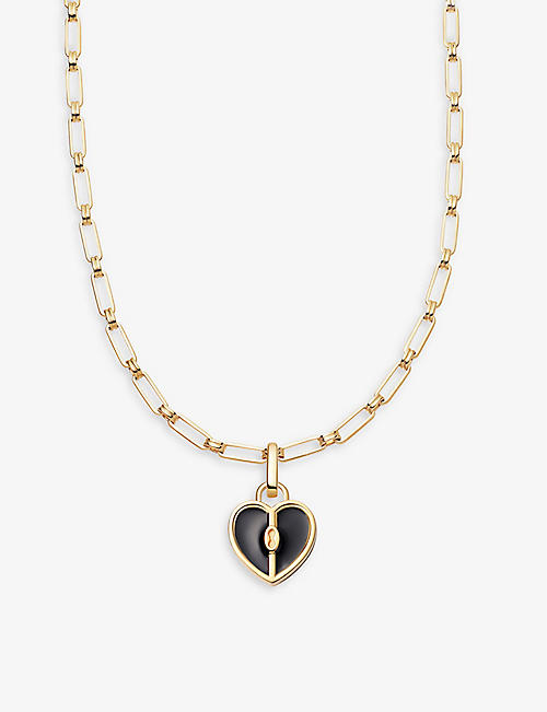 MISSOMA: Black Heart Aegis 18ct gold-plated and black enamel locket necklace