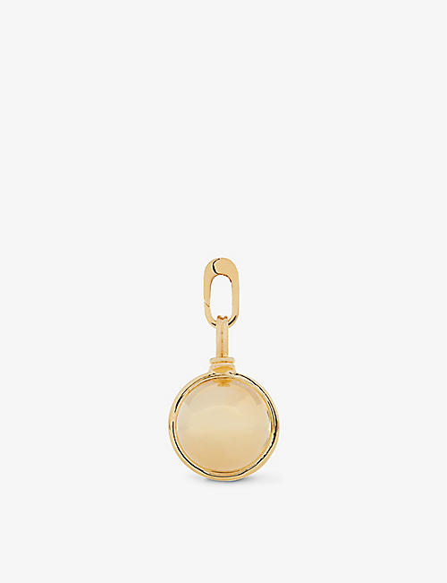 MISSOMA: Sphere M initial clip-on 18ct gold-plated brass pendant