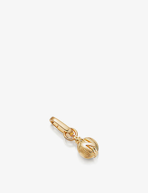 MISSOMA: Sphere initial N clip-on 18ct gold-plated pendant