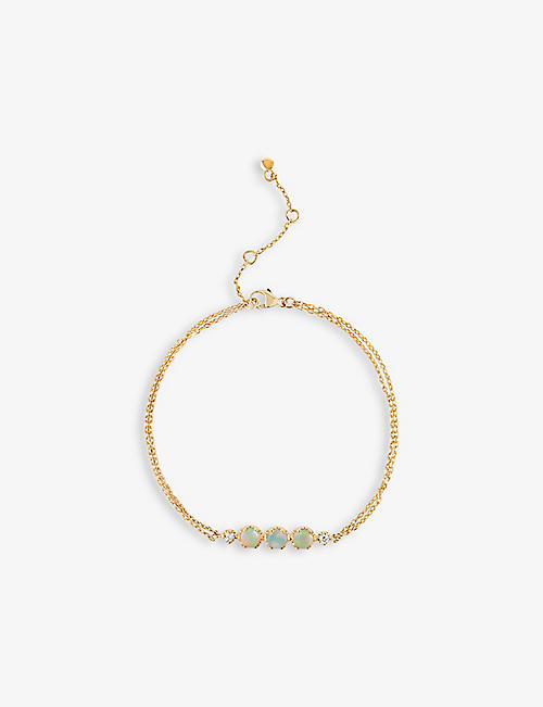 THE ALKEMISTRY: Dinny Hall 14ct yellow-gold opal and diamond bracelet