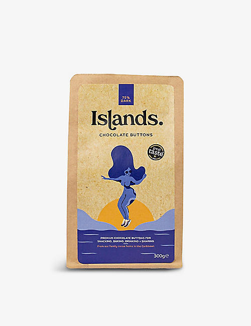CHOCOLATE: Islands Midnight Mover 75% dark chocolate buttons 300g