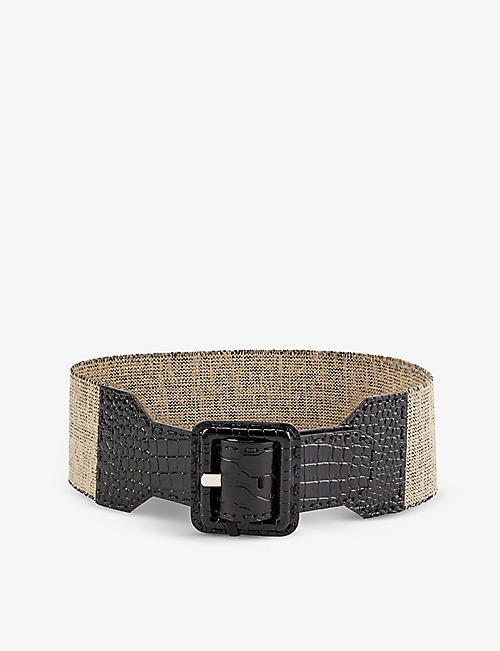 MAX MARA: Elcocco stretch-cotton and crocodile-embossed leather belt