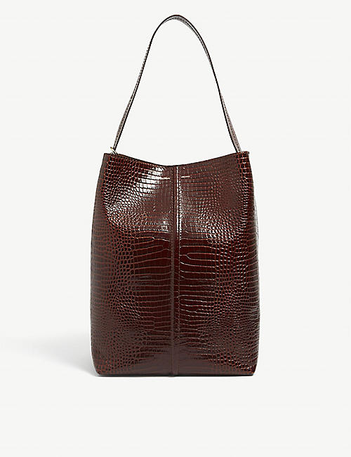 MAX MARA: Plage croc-embossed leather tote bag