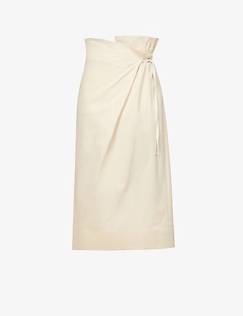 SPORTMAX: Zeda asymmetric-waist stretch-cotton midi skirt