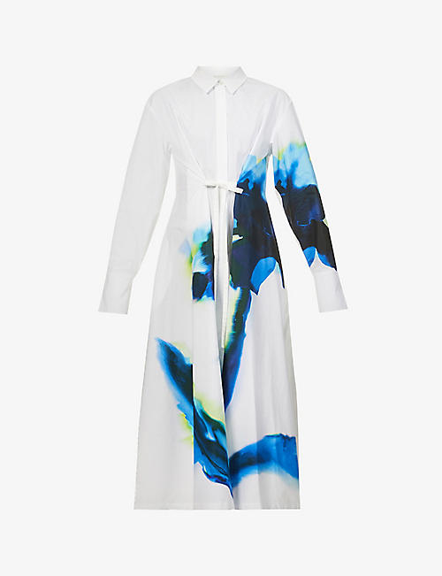 SPORTMAX: Parole printed cotton maxi dress