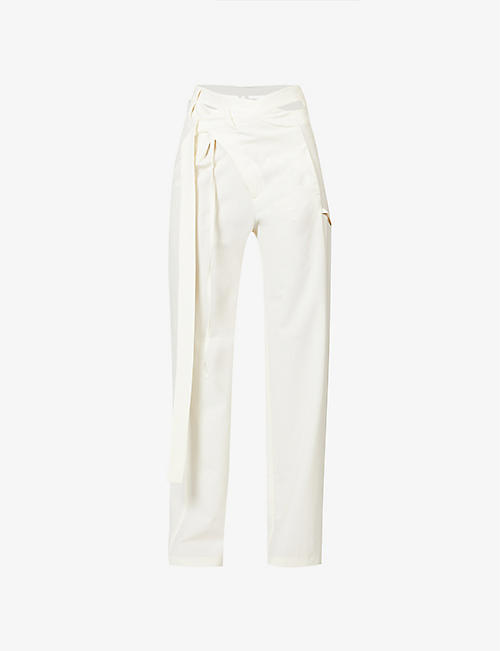 OTTOLINGER: Wrap wide-leg high-rise woven trousers
