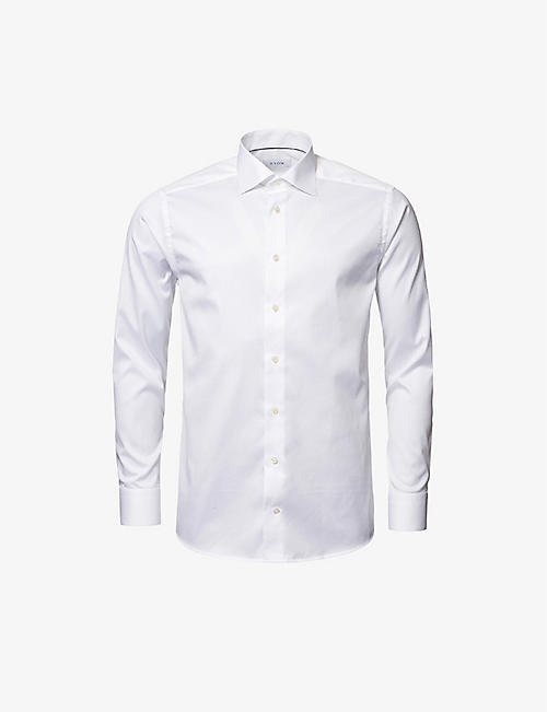 ETON: Love-embroidered contemporary-fit cotton-twill shirt