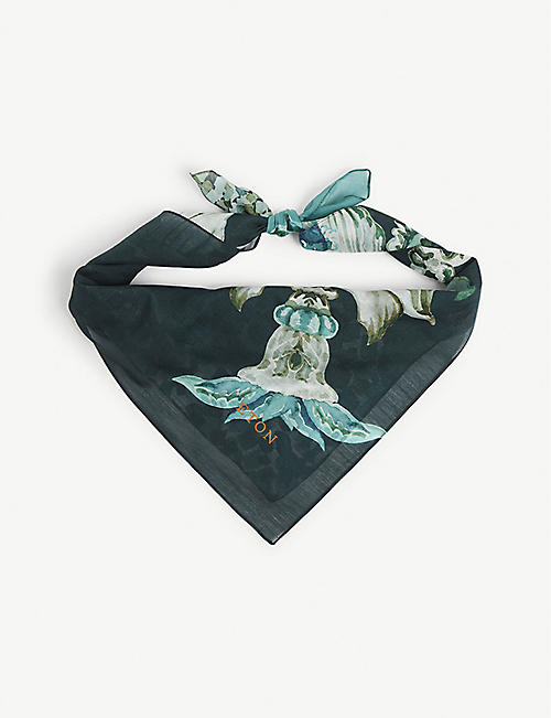 ETON: Floral-print cotton and silk-blend bandana
